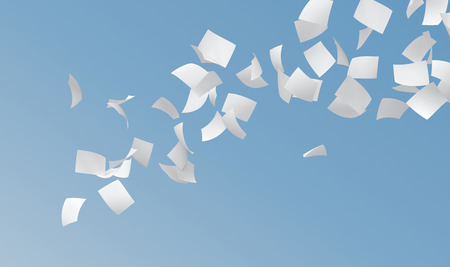Foto de white papers flying on blue sky background. - Imagen libre de derechos