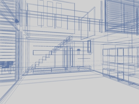 Photo pour architectural drawing on gray background, digitally generated image. - image libre de droit