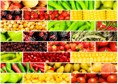 Collage of many different fruits and vegetables