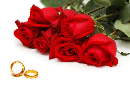 Photo for Wedding concept with roses and rings - Royalty Free Image