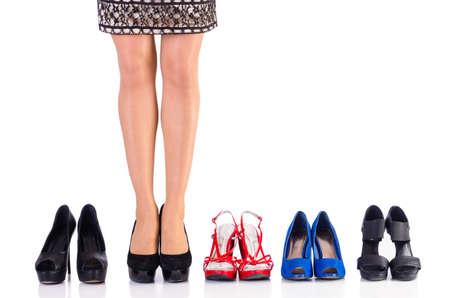 Foto de Woman trying new shoes in the shop - Imagen libre de derechos