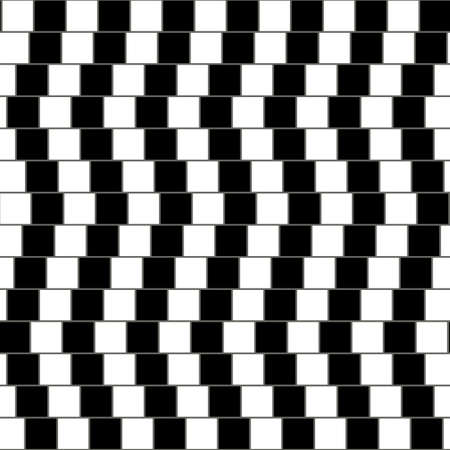 Illustration pour Illusory monochrome background with mosaic of squares. Seamlessly repeatable black and white pattern. - image libre de droit