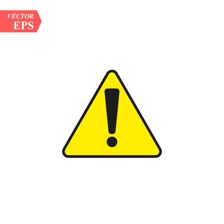 Ilustración de Black hazard warning attention sign with exclamation mark on white - Imagen libre de derechos