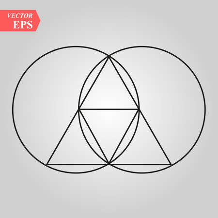Illustration pour Sacred geometry - zen minimalism - vesca piscis -pointed oval figure used as an architectural feature and as an aureole enclosing figures such as Christ or the Virgin Mary in medieval art. eps 10 - image libre de droit
