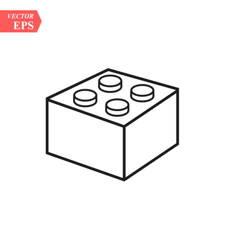Illustration for Lego brick block or piece line art vector icon for toy apps and websites eps10 - Royalty Free Image
