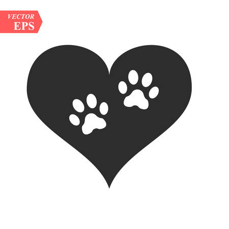 Illustration pour Vector of a white animal pawprint in a black heart on white background to be uses as a logo or illustration - image libre de droit