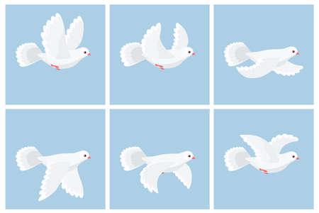 Ilustración de Vector illustration of cartoon flying dove animation sprite - Imagen libre de derechos