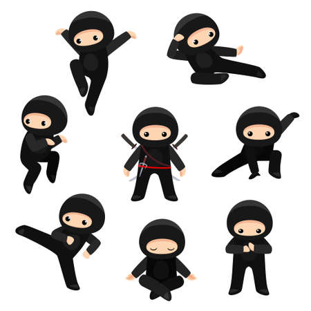 Illustration pour Vector set of cute ninjas in various poses isolated on white background - image libre de droit
