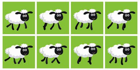 Ilustración de Vector illustration of cartoon trotting sheep sprite sheet. Can be used for GIF animation - Imagen libre de derechos