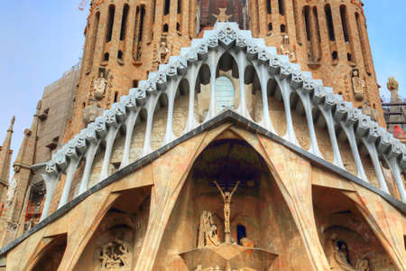 Foto de Famous Antonio Gaudi Sagrada Familia Cathedral, Tower close up. - Imagen libre de derechos