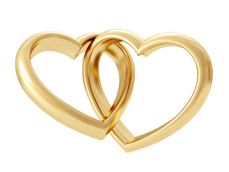 Photo pour Gold heart shaped rings attached to each other. 3D rendering - image libre de droit