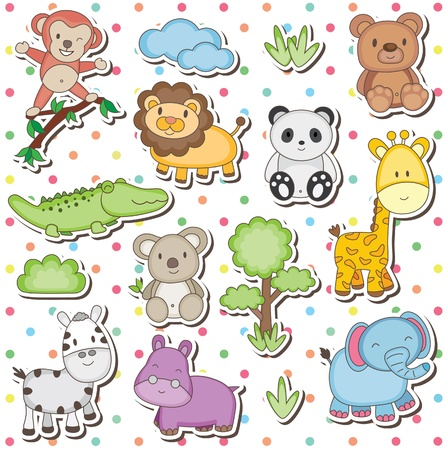 Photo for Happy wild animals clip art - Royalty Free Image