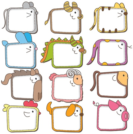 Photo pour Chinese zodiac animal frames  - image libre de droit