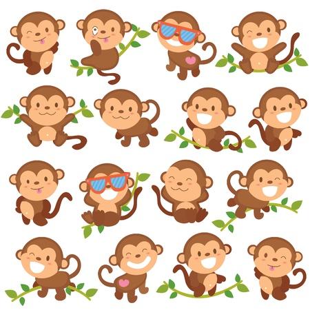 Illustration for playful monkeys set - Royalty Free Image