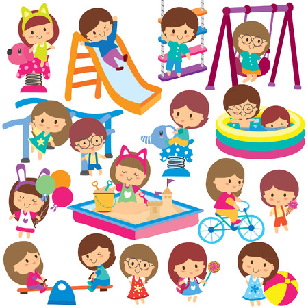 Illustration for kids at playground clip art set - Royalty Free Image