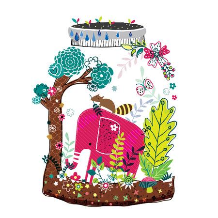Illustration for elephant nature illustration - Royalty Free Image