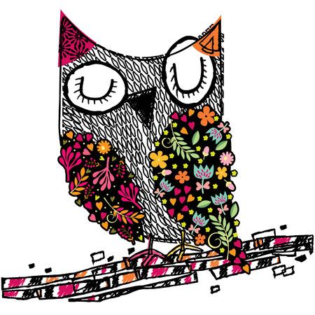 Ilustración de owl floral illustration - Imagen libre de derechos