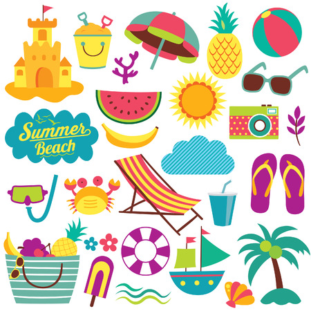 Illustration pour summer day elements clip art set - image libre de droit