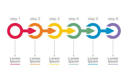 Ilustración de Vector flow chart template, with arrows - Imagen libre de derechos