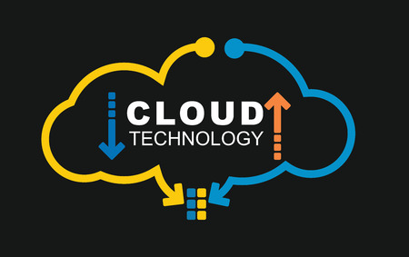 Photo pour Cloud technology concept. Illustration with abstract digital background - image libre de droit