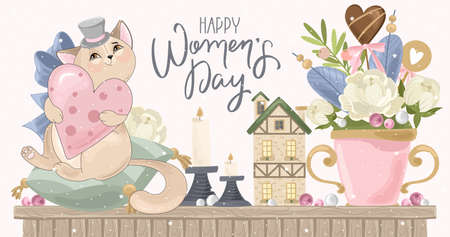 Illustrazione per Greeting card for women's day. Romantic cat with holiday elements. The inscription by hand. Vector illustration. - Immagini Royalty Free