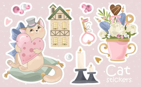 Illustrazione per A Set of Cat stickers and icons. Vector illustrations. Printing on fabric, paper, cards, invitations. - Immagini Royalty Free