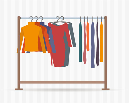 Illustration pour Clothes racks with dresses on hangers. Flat style vector illustration. - image libre de droit