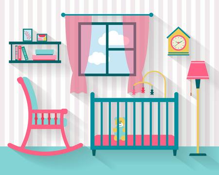 Ilustración de Baby room with furniture. Nursery interior. Flat style vector illustration. - Imagen libre de derechos