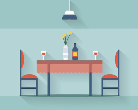 Ilustración de Dining table for date with glasses of wine, flowers and chairs. Flat style vector illustration. - Imagen libre de derechos