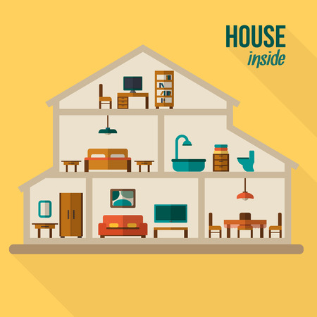 Ilustración de House in cut. Detailed modern house interior. Rooms with furniture.  Flat style vector illustration. - Imagen libre de derechos