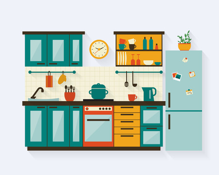 Illustration pour Kitchen with furniture and long shadows. Flat style vector illustration. - image libre de droit