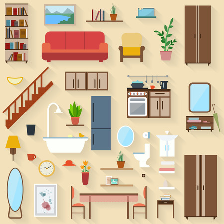 Furniture set for rooms of house. Flat style vector illustration.