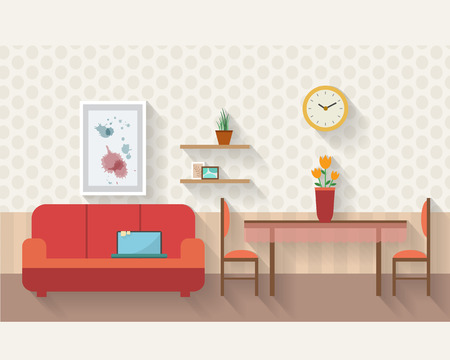 Ilustración de Living room and dining room with furniture and long shadows. Flat style vector illustration. - Imagen libre de derechos