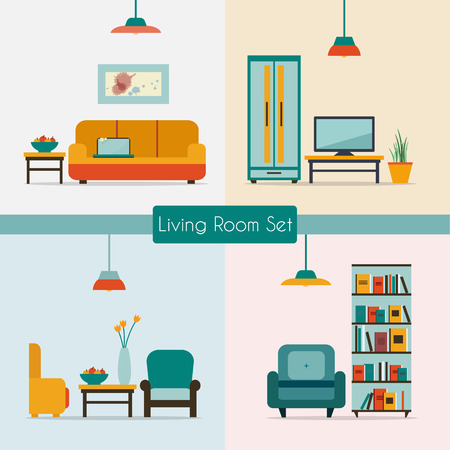 Ilustración de Living room with furniture and long shadows. Flat style vector illustration. - Imagen libre de derechos