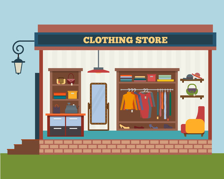 Illustration for Clothing store. Man and woman clothes shop and boutique. Shopping, fashion, bags, accessories. Flat style vector illustration. - Royalty Free Image