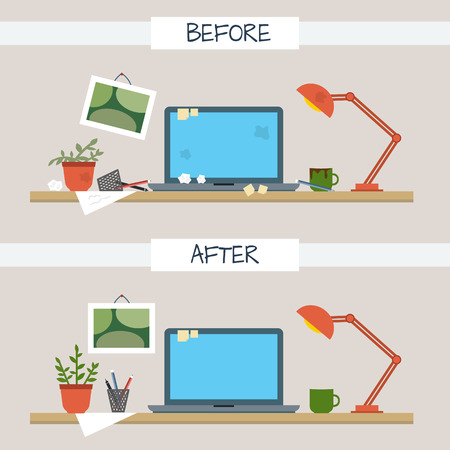 Illustration pour Dirty and clean work table. Creative mess. Disorder in the interior. Table before and after cleaning. Flat style vector illustration. - image libre de droit