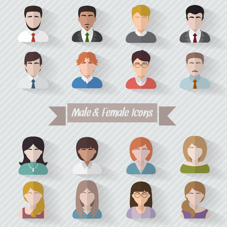 Illustration pour People userpics icons in flat style in circle button. Different man and woman. Vector illustration. - image libre de droit