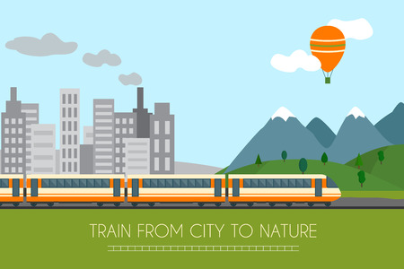 Ilustración de Train on railway with forest and mountains background. Flat style vector illustration. - Imagen libre de derechos