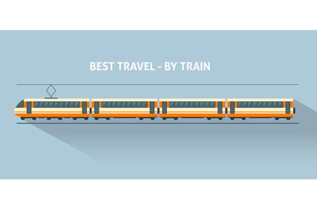 Illustration pour Train with long shadows. Flat style vector illustration. - image libre de droit