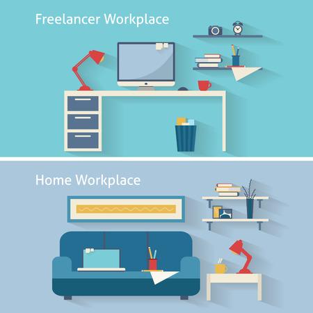 Illustration pour Home workplace flat vector design. Workspace for freelancer and home work. - image libre de droit