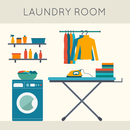 Illustration pour Laundry room with washing machine, ironing board, clothes rack with things, facilities for washing, washing powder and mirror. Flat style vector illustration. - image libre de droit