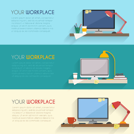 Ilustración de Home workplace flat vector design. Workspace for freelancer and home work. - Imagen libre de derechos
