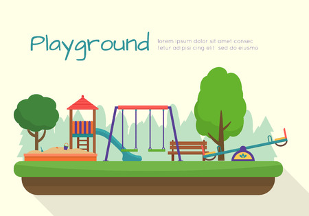 Illustration for Kids playground set. Icons with kids swings and objects. Flat style vector illustration. - Royalty Free Image