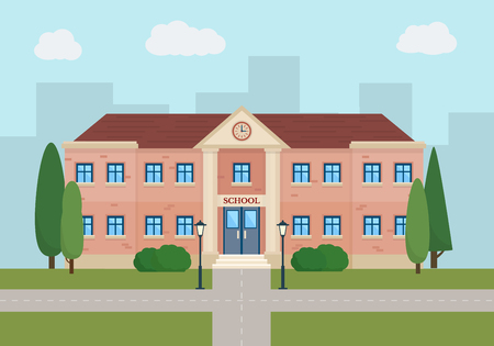 Foto de School and education. Buildings for city construction. Set of elements to create urban background, village and town landscape.  Flat style vector illustration. - Imagen libre de derechos