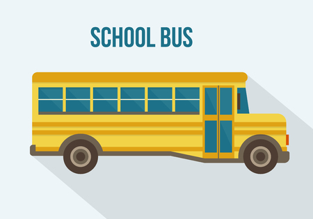 Photo for Yellow school bus. Flat style vector illustration. - Royalty Free Image