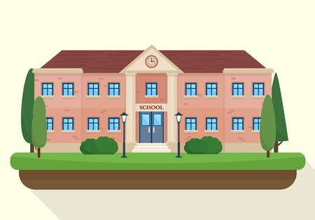 Photo for School and education. Buildings for city construction. Set of elements to create urban background, village and town landscape.  Flat style vector illustration. - Royalty Free Image