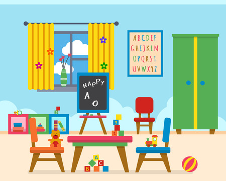 Illustration pour Kindergarten preschool playground. Childrens table with toys, wardrobe, cubes and chalk board. Flat style vector illustration. - image libre de droit