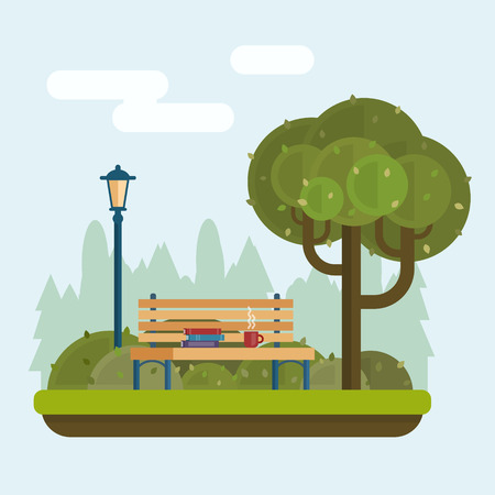 Illustration pour Bench with cup and books under a tree in the park. Flat style vector illustration. - image libre de droit