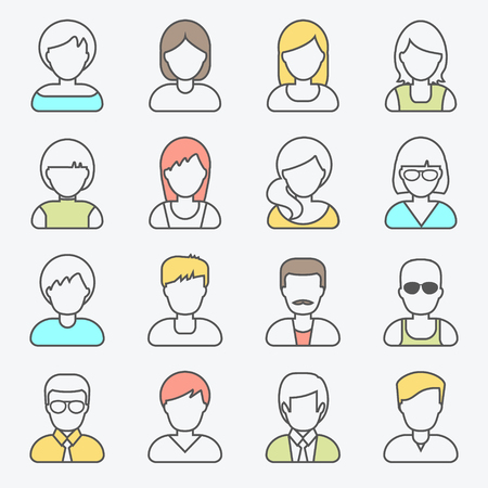 Ilustración de People userpics line icons in flat style in circle button. Different man and woman. Vector illustration. - Imagen libre de derechos