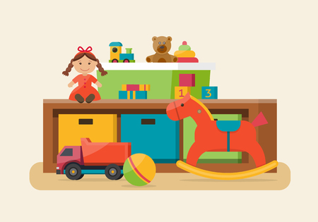 Illustration pour Kids toys in boxes. Playroom kids in nursery. Baby room interior. Flat style vector illustration. - image libre de droit